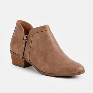 JUST FAB | Taupe Viola Bootie